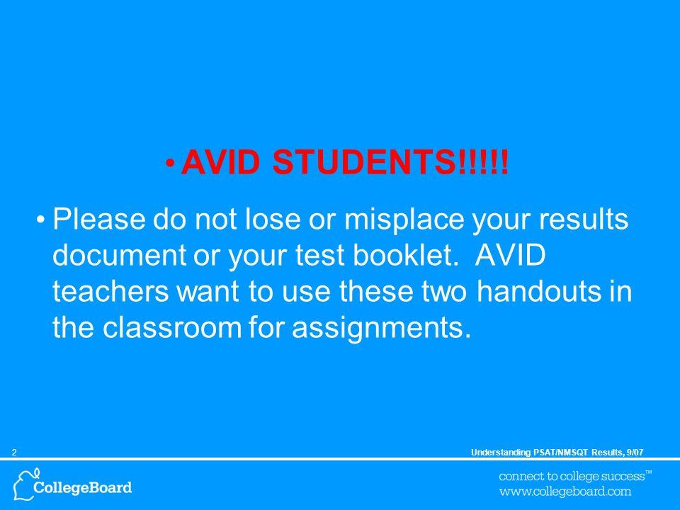 2Understanding PSAT/NMSQT Results, 9/07 AVID STUDENTS!!!!.