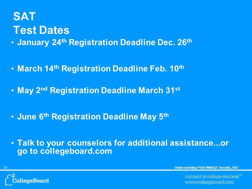 24Understanding PSAT/NMSQT Results, 9/07 SAT Test Dates January 24 th Registration Deadline Dec.