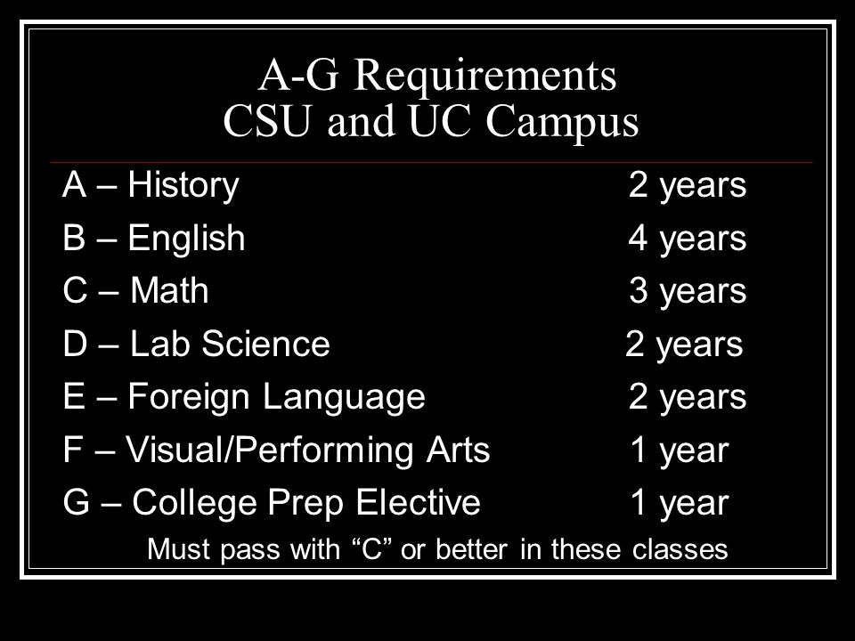 4 Year College Admission A-G Requirements and Other Important Information
