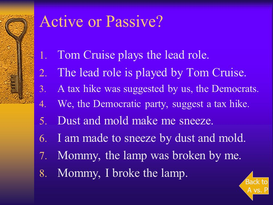 Active Voice vs. Passive Voice A verb is in the active voice when the subject of the verb performs the action. The plague killed Mary. A verb is in th