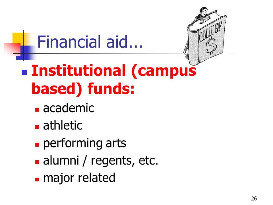 25 Financial aid... Special entitlement / needs programs: veterans disabilities minorities