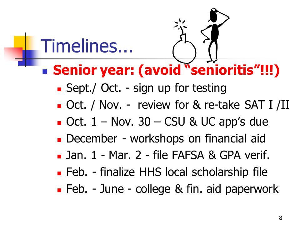 8 Timelines...Senior year: (avoid senioritis!!!) Sept./ Oct.