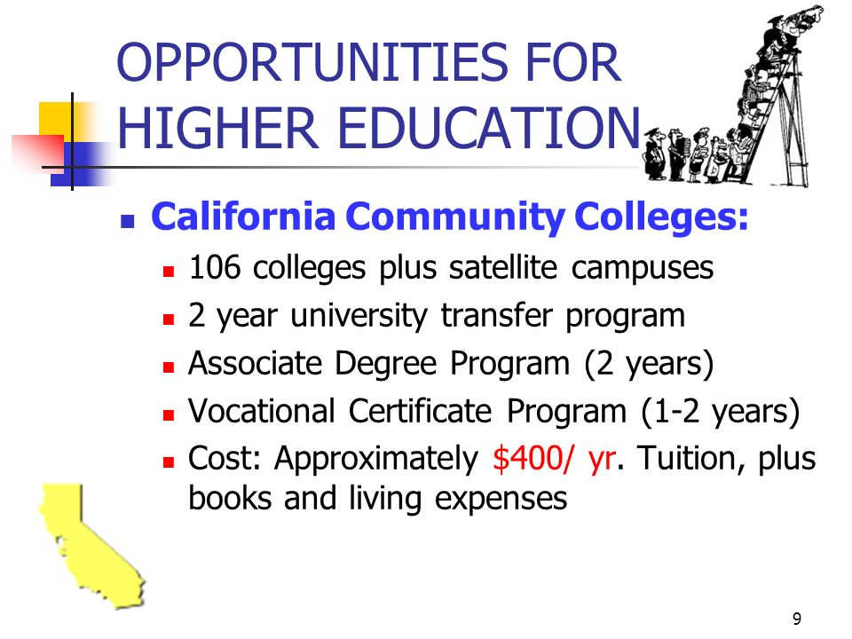 9 OPPORTUNITIES FOR HIGHER EDUCATION California Community Colleges: 106 colleges plus satellite campuses 2 year university transfer program Associate Degree Program (2 years) Vocational Certificate Program (1-2 years) Cost: Approximately $400/ yr.