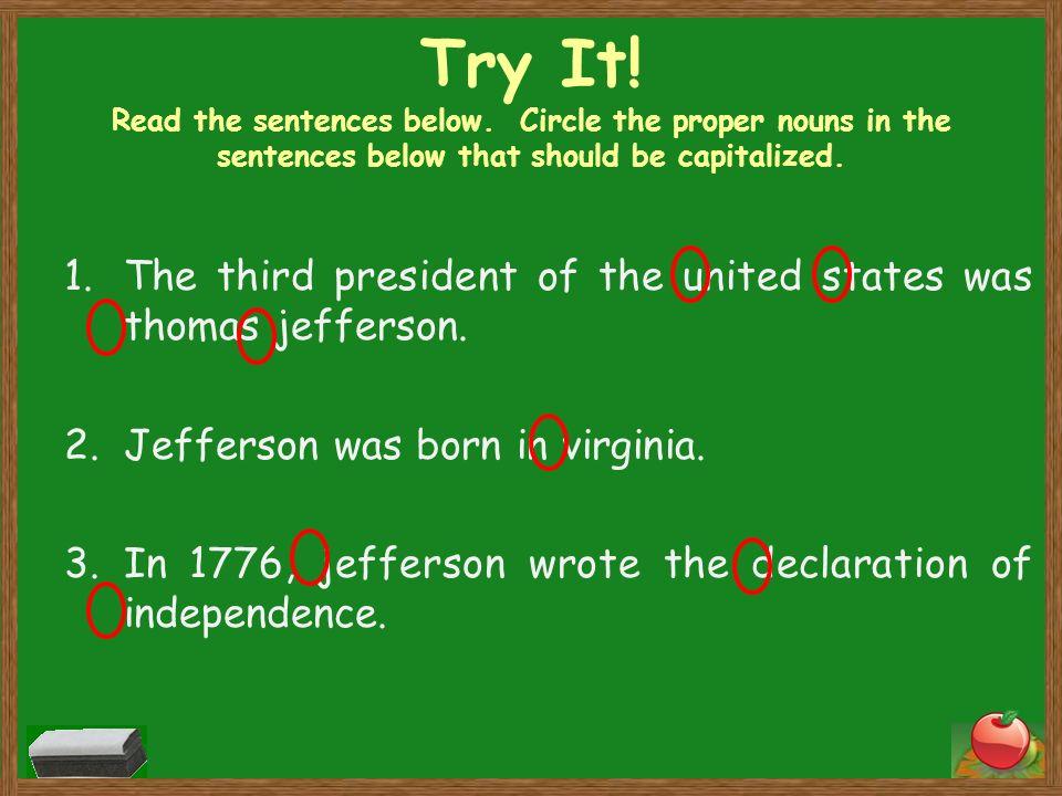 Try It. Read the sentences below.