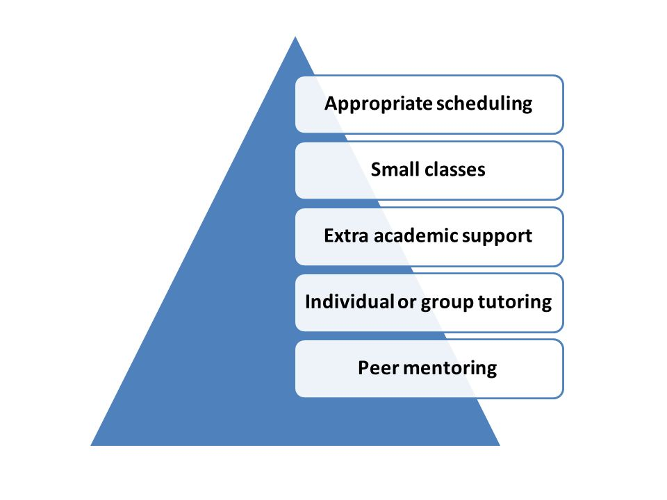 Appropriate schedulingSmall classesExtra academic supportIndividual or group tutoringPeer mentoring