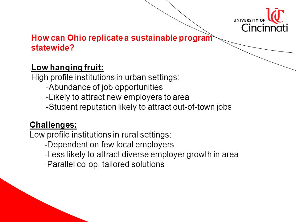 How can Ohio replicate a sustainable program statewide? Low hanging fruit: High profile institutions in urban settings: -Abundance of job opportunitie