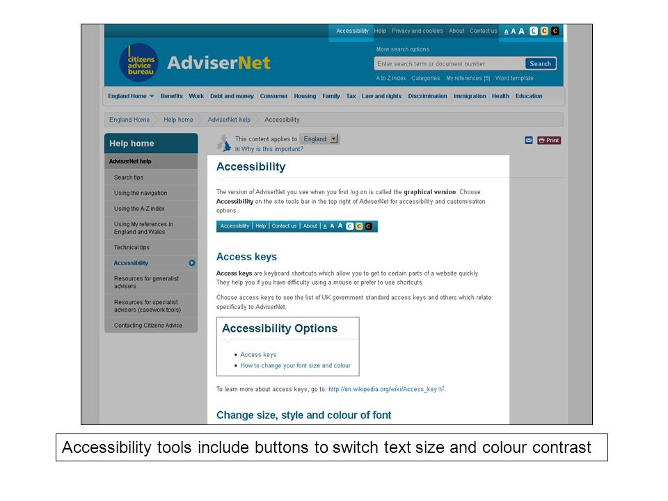 Accessibility tools include buttons to switch text size and colour contrast