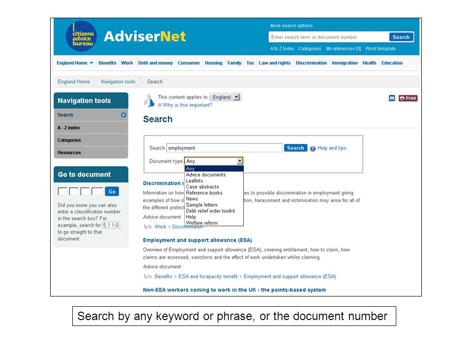 Search by any keyword or phrase, or the document number