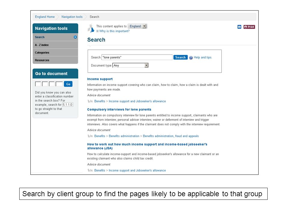 Search by client group to find the pages likely to be applicable to that group