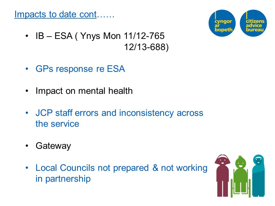 Impacts to date cont…… IB – ESA ( Ynys Mon 11/12-765 12/13-688) GPs response re ESA Impact on mental health JCP staff errors and inconsistency across the service Gateway Local Councils not prepared & not working in partnership