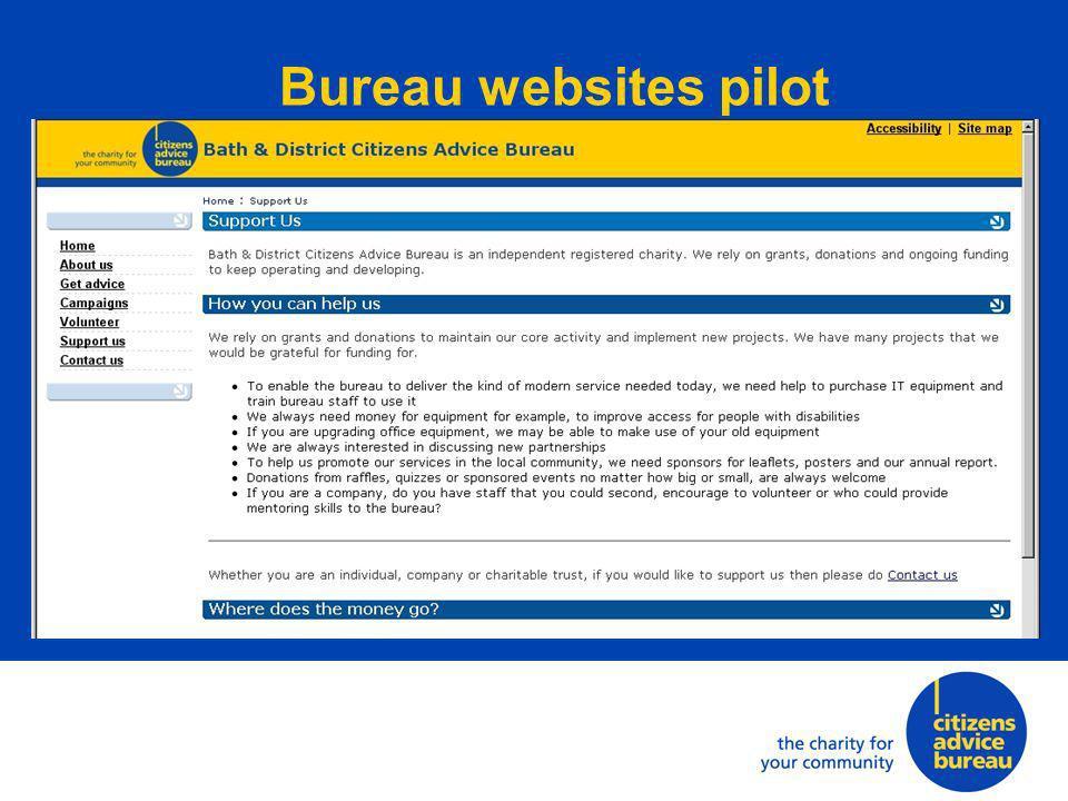 Bureau websites pilot