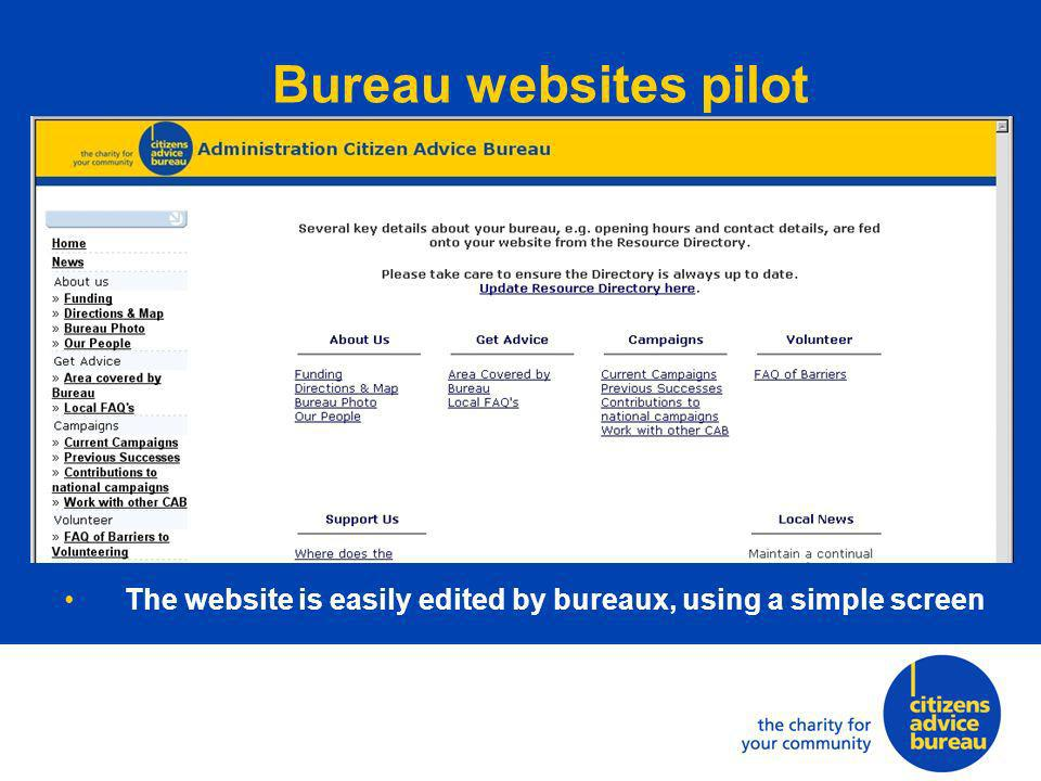 The website is easily edited by bureaux, using a simple screen