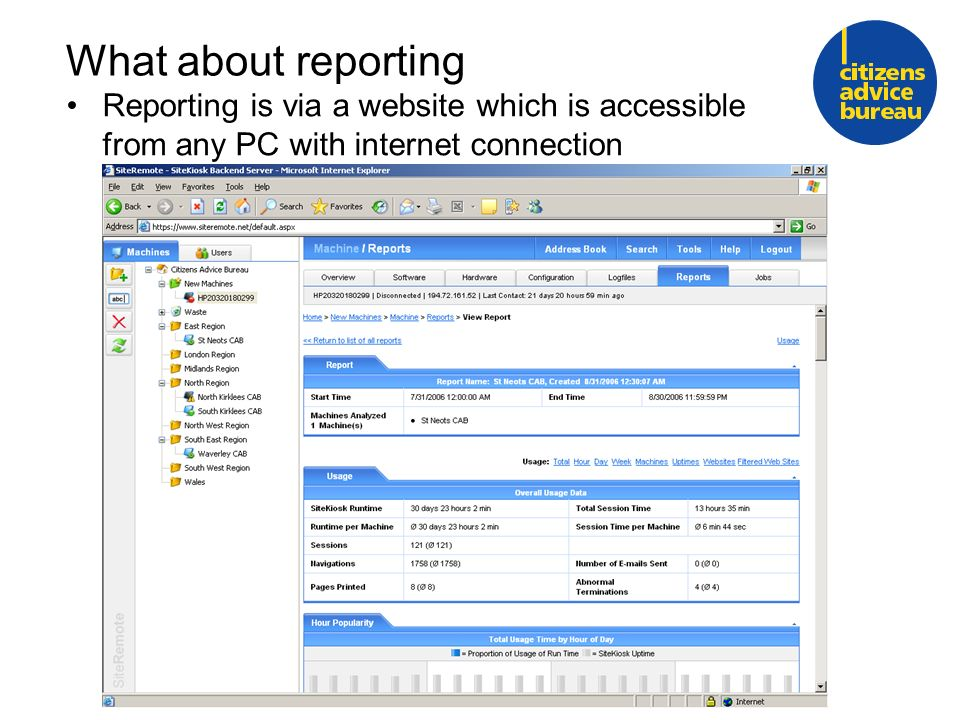 What about reporting Reporting is via a website which is accessible from any PC with internet connection