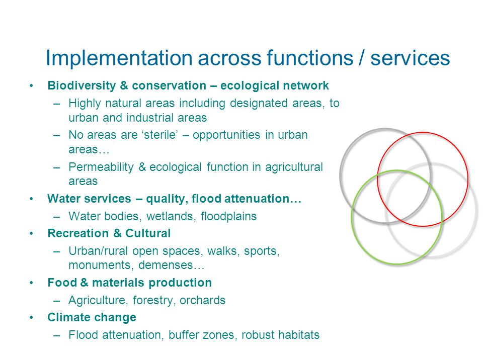 Implementation across functions / services Biodiversity & conservation – ecological network –Highly natural areas including designated areas, to urban and industrial areas –No areas are sterile – opportunities in urban areas… –Permeability & ecological function in agricultural areas Water services – quality, flood attenuation… –Water bodies, wetlands, floodplains Recreation & Cultural –Urban/rural open spaces, walks, sports, monuments, demenses… Food & materials production –Agriculture, forestry, orchards Climate change –Flood attenuation, buffer zones, robust habitats