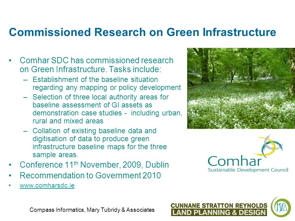 Commissioned Research on Green Infrastructure Comhar SDC has commissioned research on Green Infrastructure.