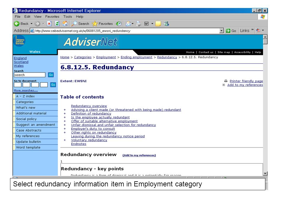 Select redundancy information item in Employment category