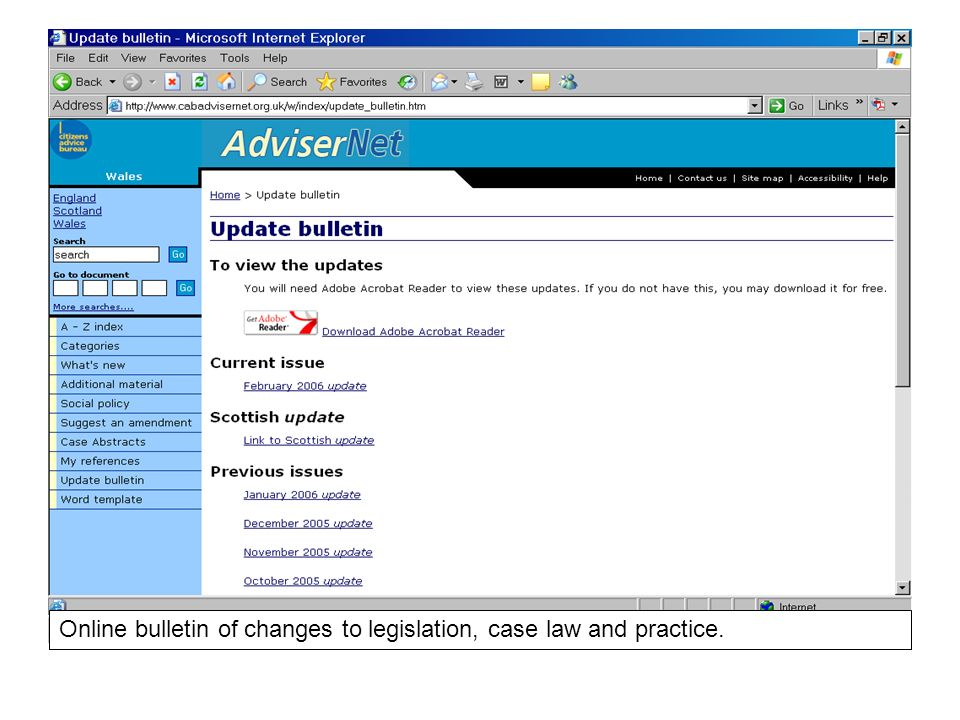 Online bulletin of changes to legislation, case law and practice.
