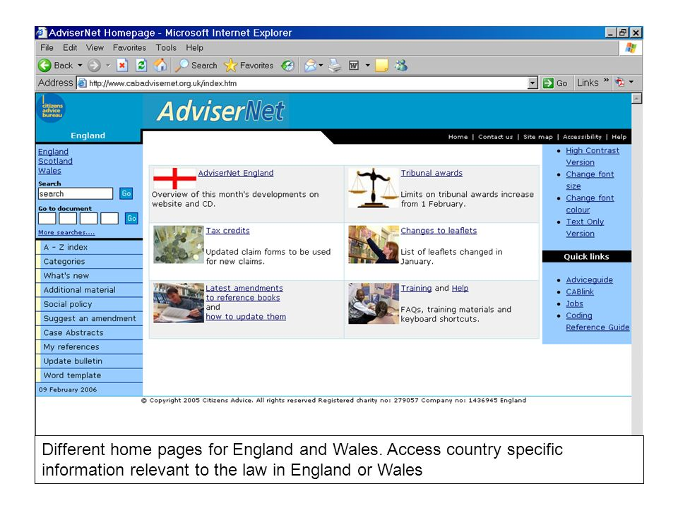 Different home pages for England and Wales.