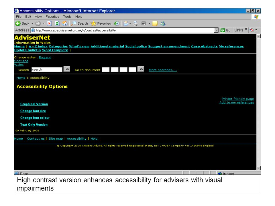 High contrast version enhances accessibility for advisers with visual impairments