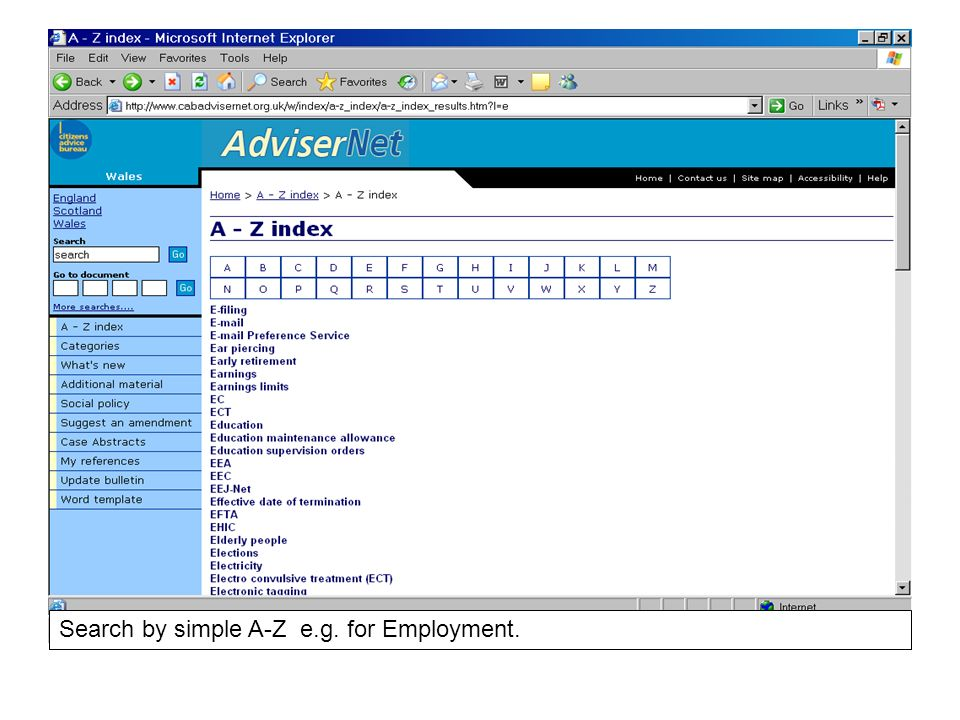 Search by simple A-Z e.g. for Employment.