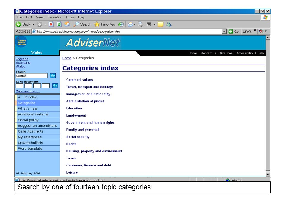 Search by one of fourteen topic categories.