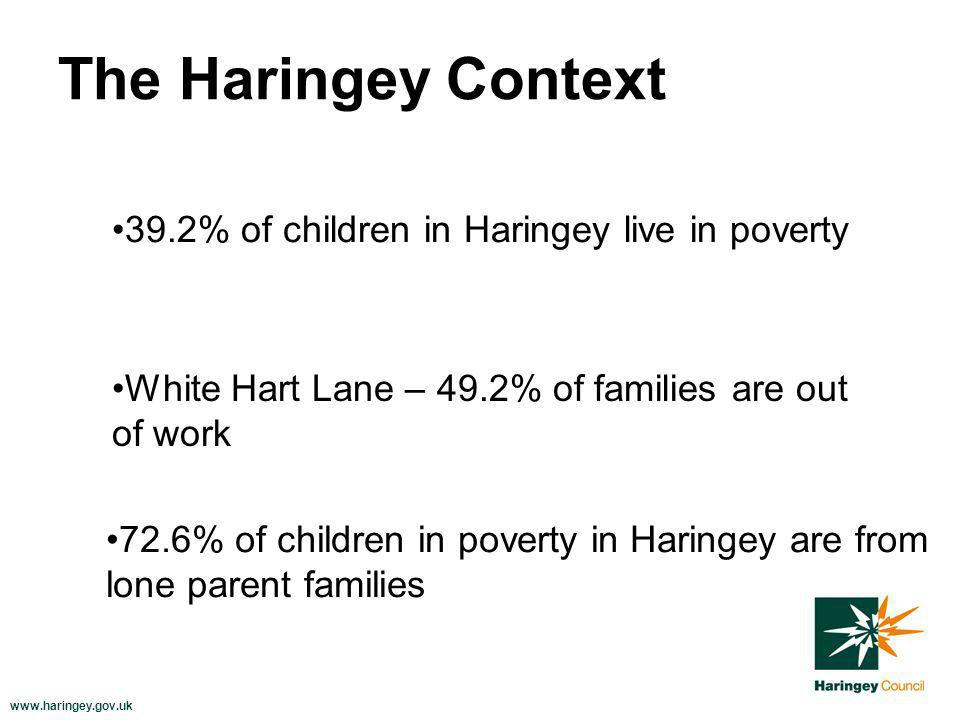 www.haringey.gov.uk The Haringey Context 39.2% of children in Haringey live in poverty White Hart Lane – 49.2% of families are out of work 72.6% of children in poverty in Haringey are from lone parent families
