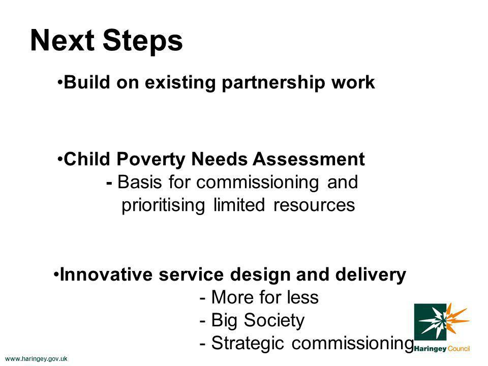 www.haringey.gov.uk Next Steps Build on existing partnership work Child Poverty Needs Assessment - Basis for commissioning and prioritising limited resources Innovative service design and delivery - More for less - Big Society - Strategic commissioning
