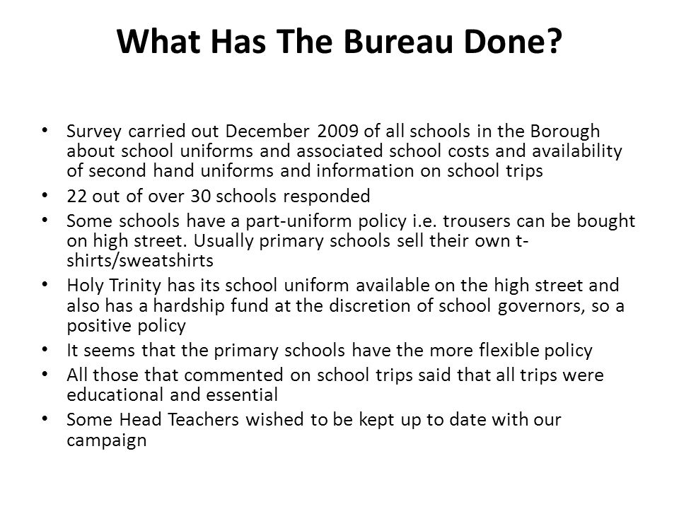 What Is The Bureau Currently Doing.