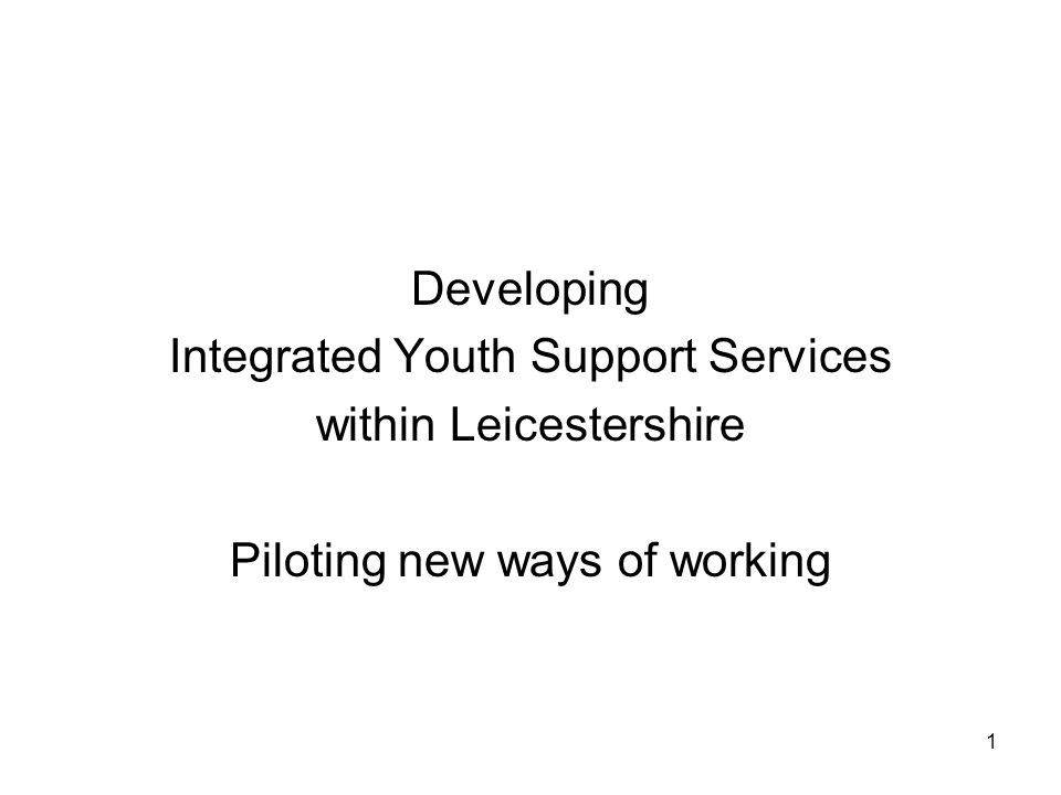 1 Developing Integrated Youth Support Services within Leicestershire Piloting new ways of working