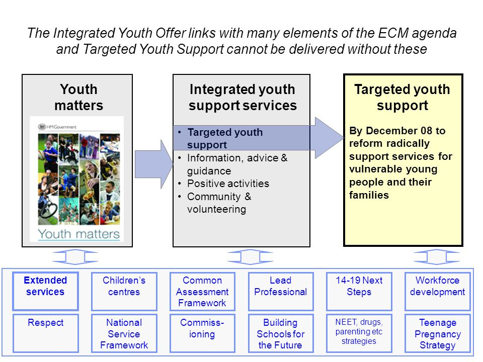 2 2 The Integrated Youth Offer links with many elements of the ECM agenda and Targeted Youth Support cannot be delivered without these By December 08 to reform radically support services for vulnerable young people and their families Targeted youth support Information, advice & guidance Positive activities Community & volunteering Integrated youth support services Youth matters Targeted youth support Common Assessment Framework Extended services Childrens centres Workforce development Lead Professional Next Steps RespectNational Service Framework Commiss- ioning Building Schools for the Future NEET, drugs, parenting etc strategies Teenage Pregnancy Strategy