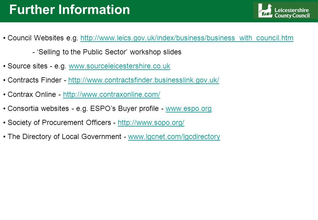 Further Information Council Websites e.g.