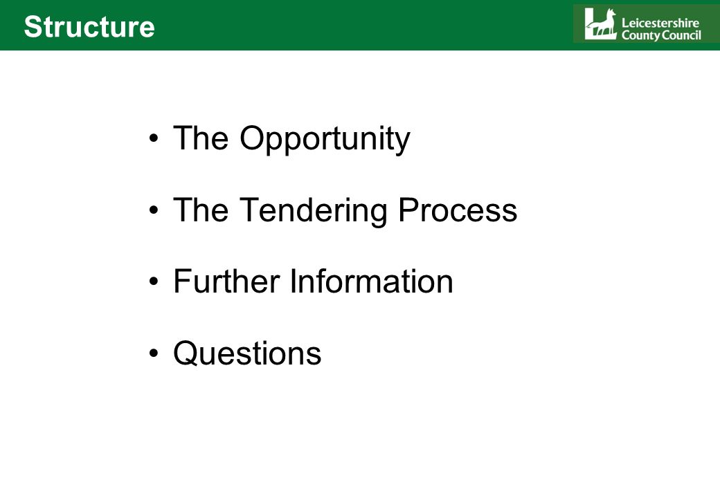 Structure The Opportunity The Tendering Process Further Information Questions