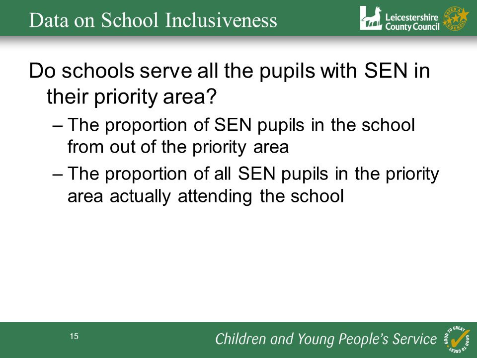 15 Data on School Inclusiveness Do schools serve all the pupils with SEN in their priority area.