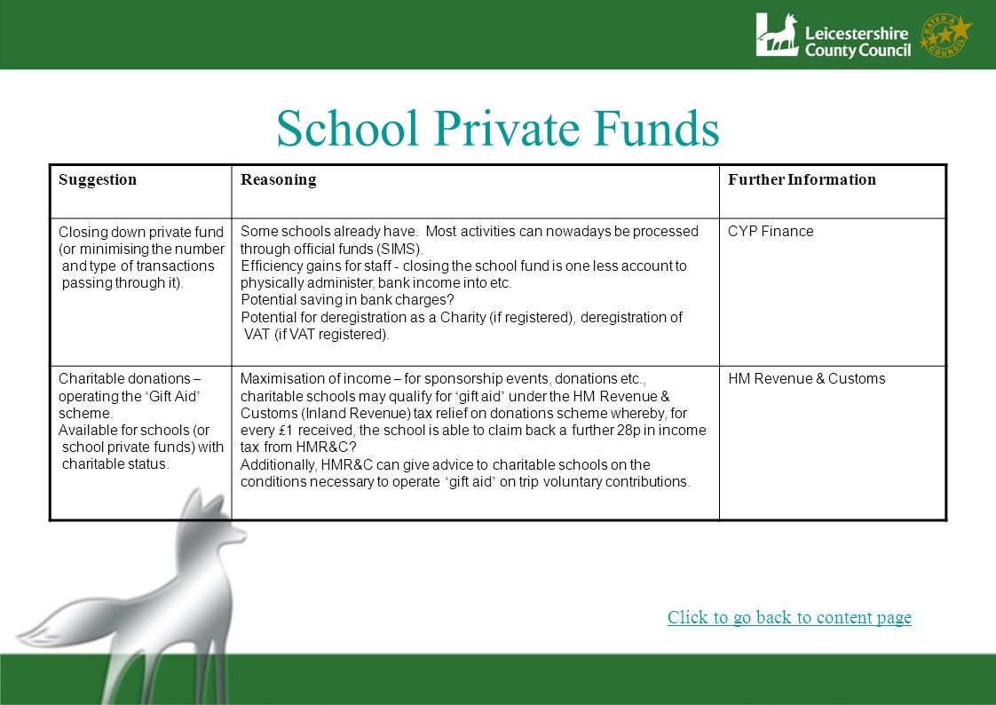 School Private Funds SuggestionReasoningFurther Information Closing down private fund (or minimising the number and type of transactions passing throu