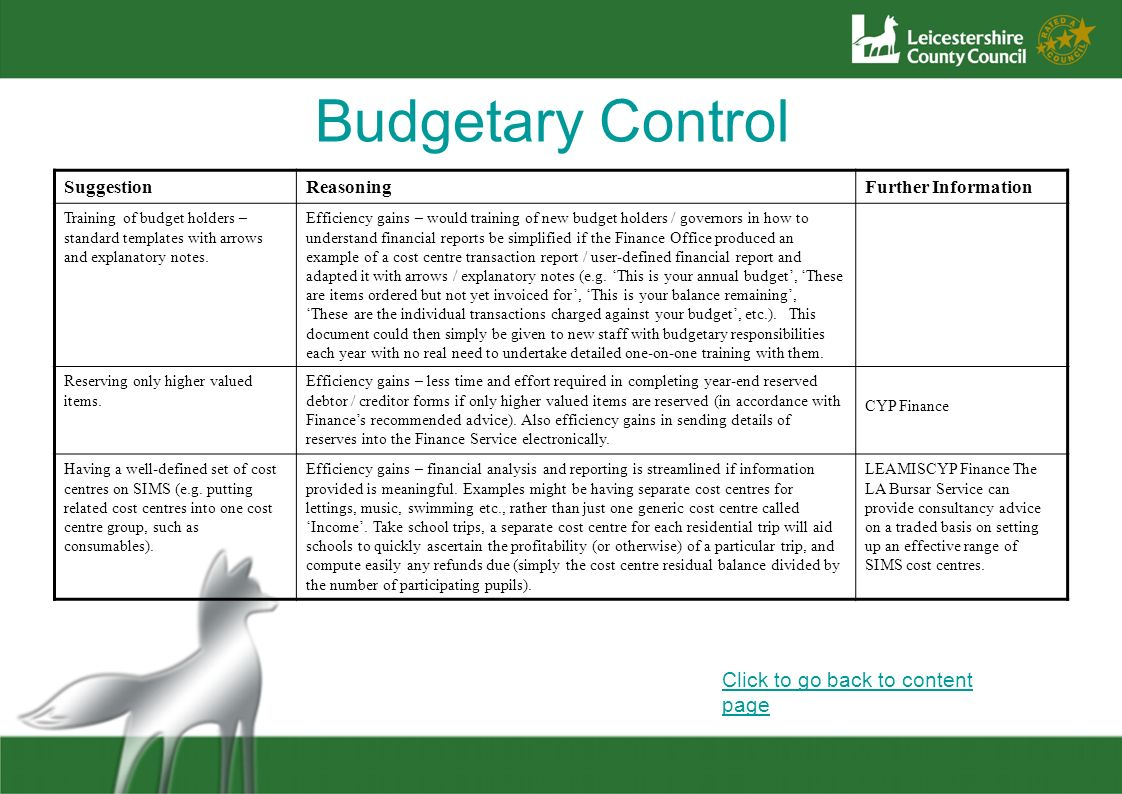 Budgetary Control Click to go back to content page SuggestionReasoningFurther Information Training of budget holders – standard templates with arrows