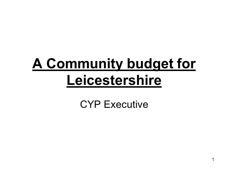 1 A Community budget for Leicestershire CYP Executive
