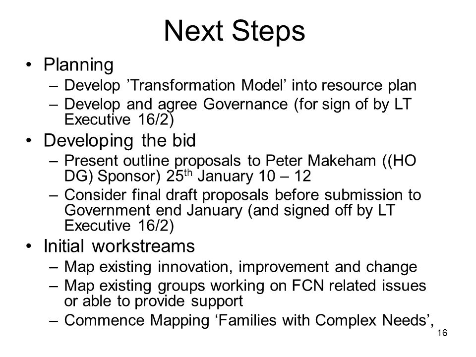 16 Next Steps Planning –Develop Transformation Model into resource plan –Develop and agree Governance (for sign of by LT Executive 16/2) Developing the bid –Present outline proposals to Peter Makeham ((HO DG) Sponsor) 25 th January 10 – 12 –Consider final draft proposals before submission to Government end January (and signed off by LT Executive 16/2) Initial workstreams –Map existing innovation, improvement and change –Map existing groups working on FCN related issues or able to provide support –Commence Mapping Families with Complex Needs,