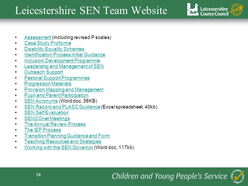 24 Leicestershire SEN Team Website Assessment (including revised P scales)Assessment Case Study Proforma Disability Equality Schemes Identification Pr