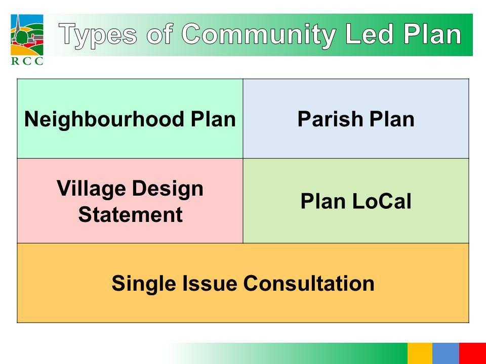 Neighbourhood PlanParish Plan Village Design Statement Plan LoCal Single Issue Consultation