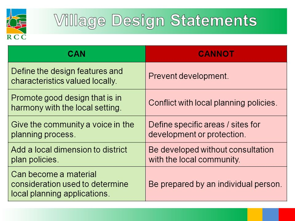 CANCANNOT Define the design features and characteristics valued locally. Prevent development. Promote good design that is in harmony with the local se