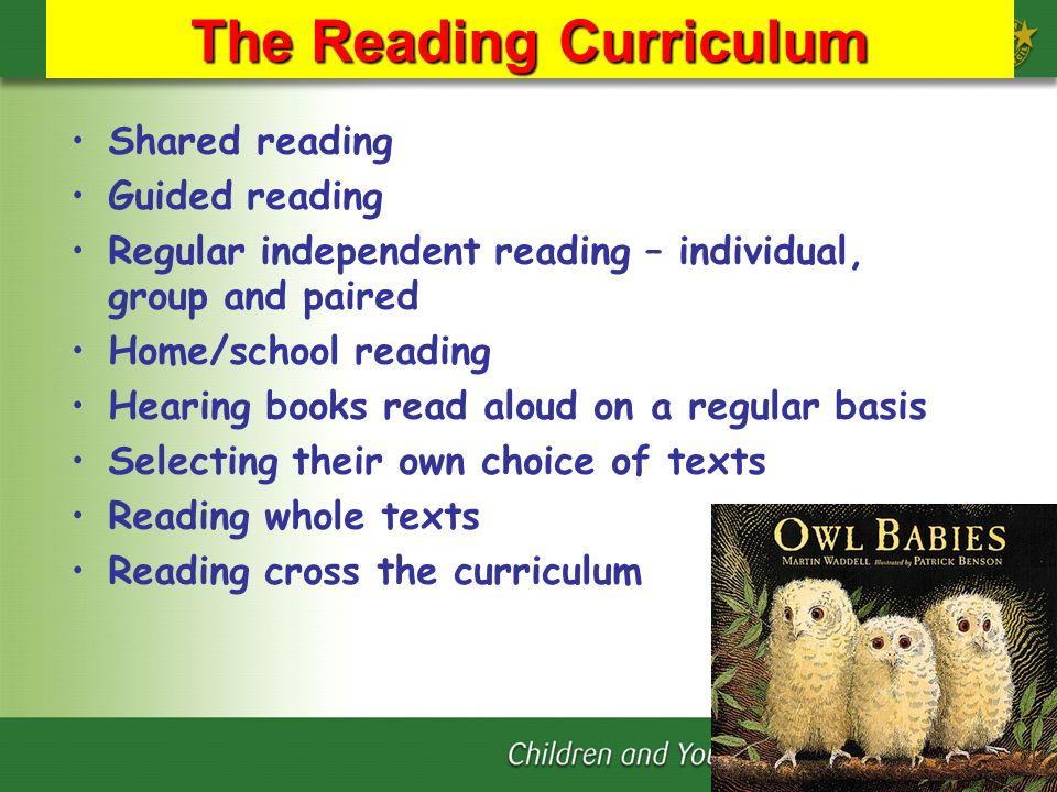 The Reading Curriculum Shared reading Guided reading Regular independent reading – individual, group and paired Home/school reading Hearing books read