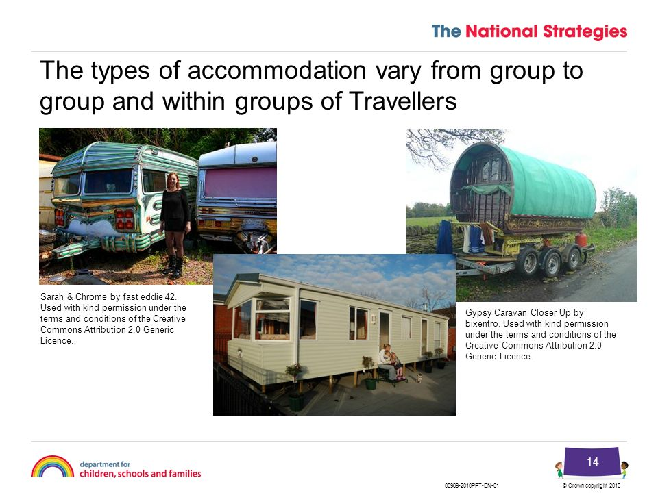 © Crown copyright 201000989-2010PPT-EN-01 14 The types of accommodation vary from group to group and within groups of Travellers Gypsy Caravan Closer