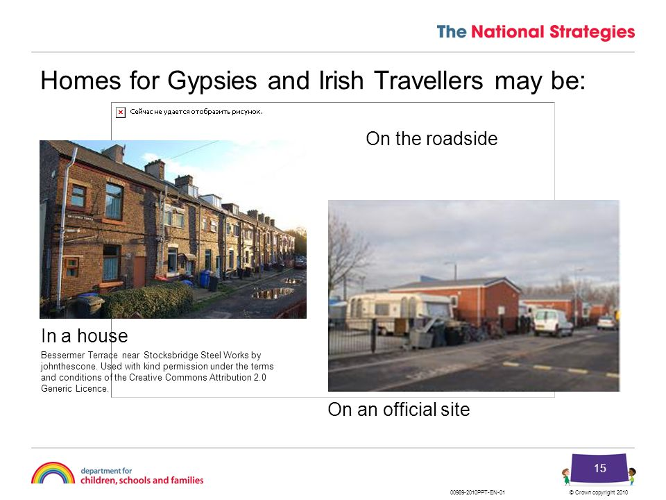 © Crown copyright 201000989-2010PPT-EN-01 15 Homes for Gypsies and Irish Travellers may be: In a house On an official site On the roadside Bessermer T
