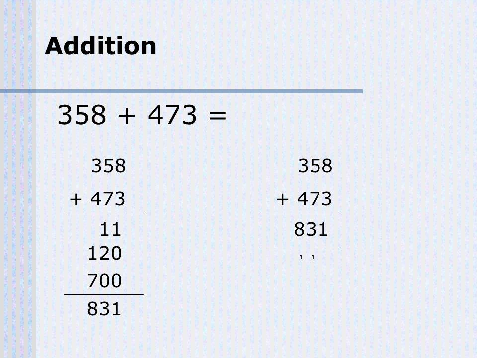 358 + 473 = Addition 358 + 473 11 120 700 831 358 + 473 831 11
