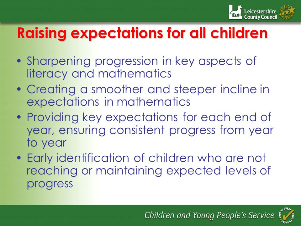 Raising expectations for all children Sharpening progression in key aspects of literacy and mathematics Creating a smoother and steeper incline in exp
