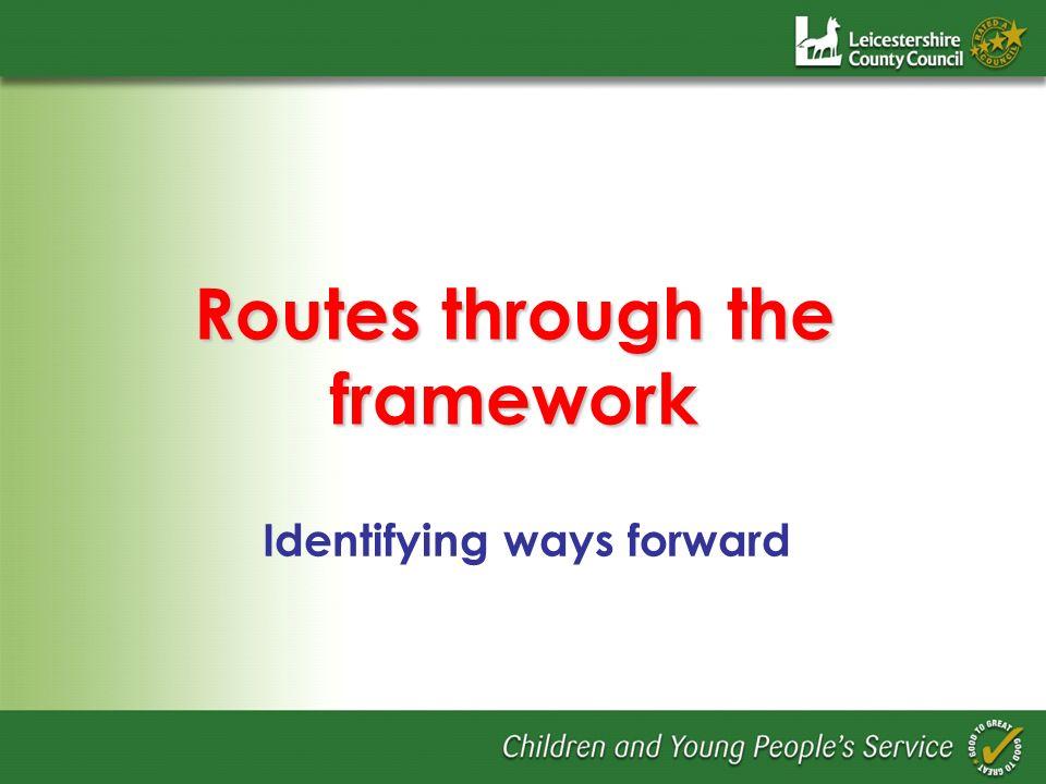 Routes through the framework Identifying ways forward