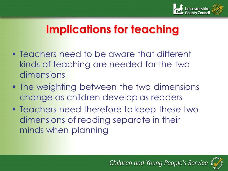 Implications for teaching Teachers need to be aware that different kinds of teaching are needed for the two dimensions The weighting between the two d