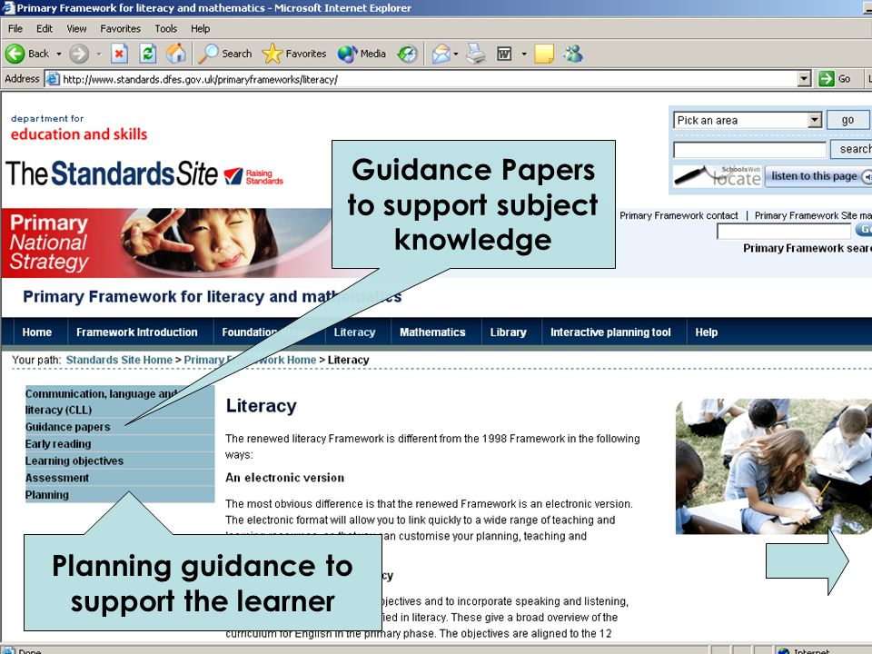 Guidance Papers to support subject knowledge Planning guidance to support the learner