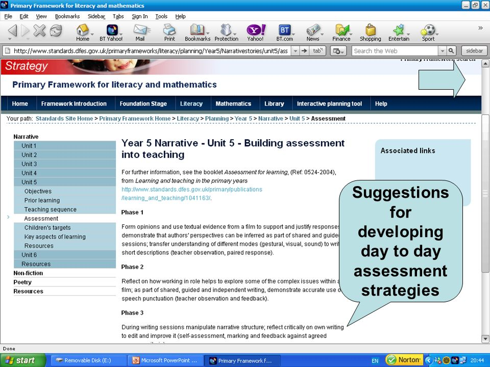 Suggestions for developing day to day assessment strategies
