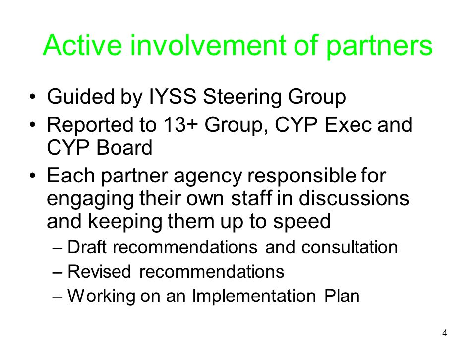 4 Active involvement of partners Guided by IYSS Steering Group Reported to 13+ Group, CYP Exec and CYP Board Each partner agency responsible for engag